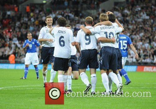 England celebrate Soccer Aid charity football match held...