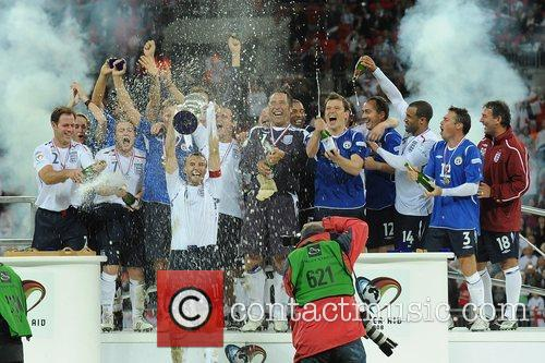 England celebrate victory Soccer Aid charity football match...