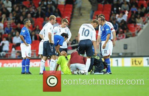 Injured referee Pierluigi Colina  Soccer Aid charity...