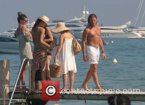 Lapo Elkann with friends at Pampelonne beach St....