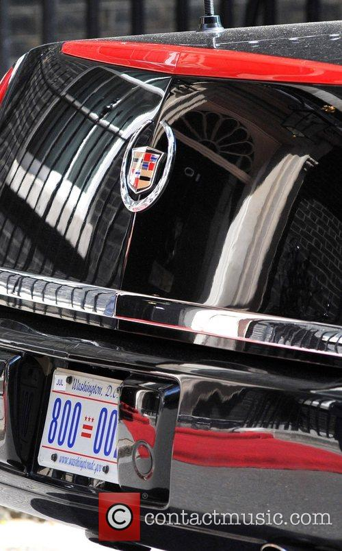The US presidential limousine parked in front of...