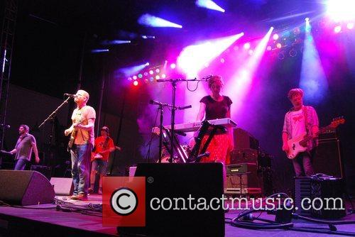 The New Pornographers performing live on stage at...