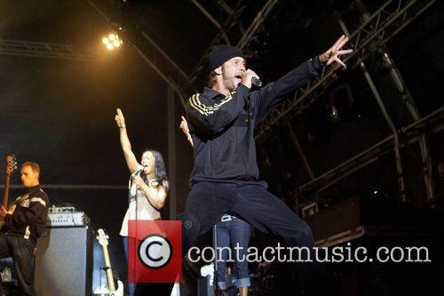 Performing live at the SuperBock SuperRock Festival held...