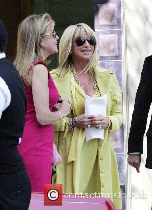 American actress Suzanne Somers leaving a party in...