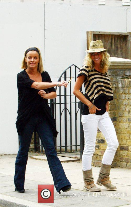 Davinia Taylor and Jenny Frost outside Davinia's home