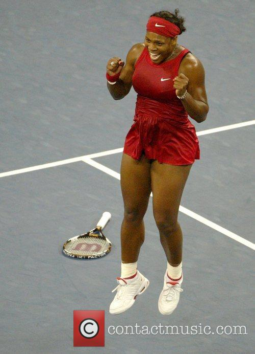 Serena Williams celebrates after winning the Women's final...