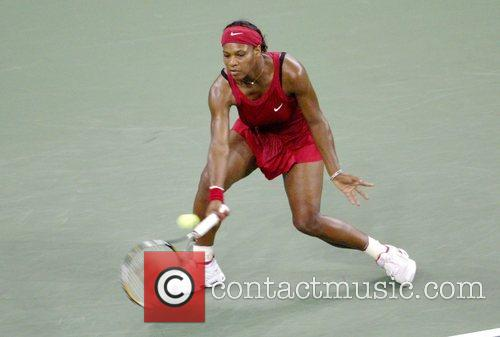 Serena Williams plays a shot during the Women's...
