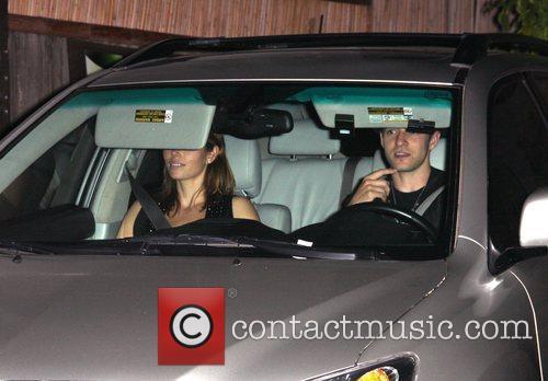 Justin Timberlake and Jessica Biel leaving Villa lounge...