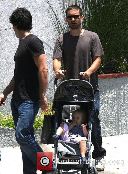 Tobey Maguire with his daughter Ruby in West...