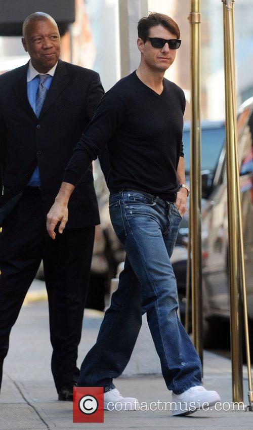 Tom Cruise leaving his Manhattan apartment alone in...