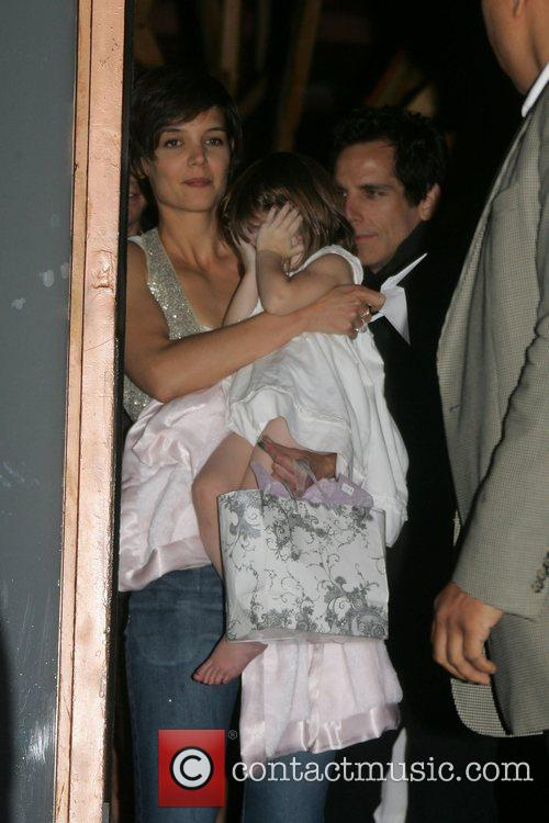 Katie Holmes with daughter Suri leaving Nobu restaurant...