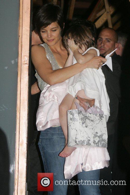 Katie Holmes with daughter Suri leaving Nobu restaurant...