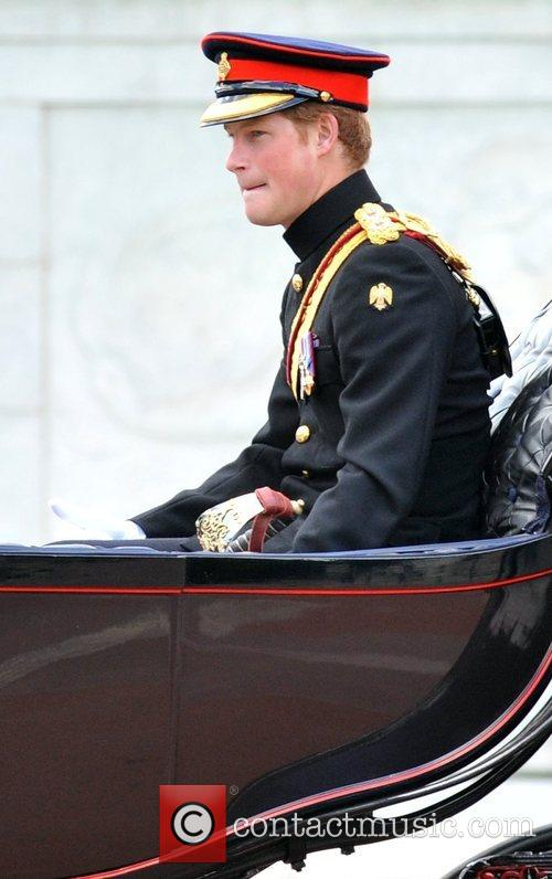 Prince Harry on their way from the Trooping...