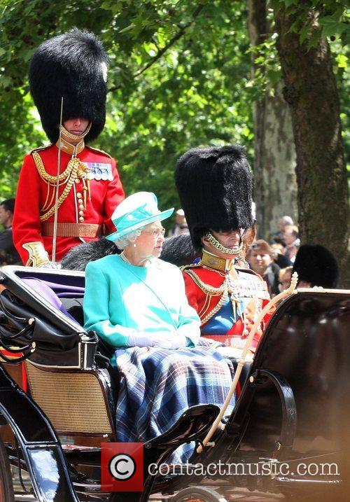 Queen Elizabeth II on their way to the...