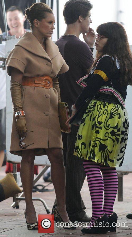 America Ferrera and Vanessa Williams on the set...