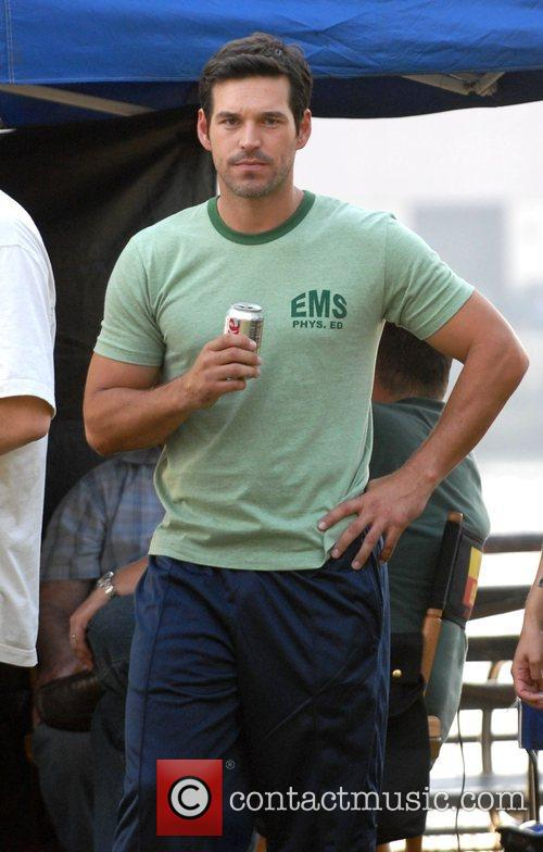 Eddie Cibrian filming on the set of Ugly...