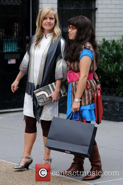 Ashley Jensen and America Ferrera on the set...