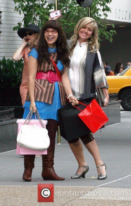 America Ferrera and Ashley Jensen on the set...