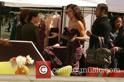 Adriana Lima on the set of 'Ugly Betty'...