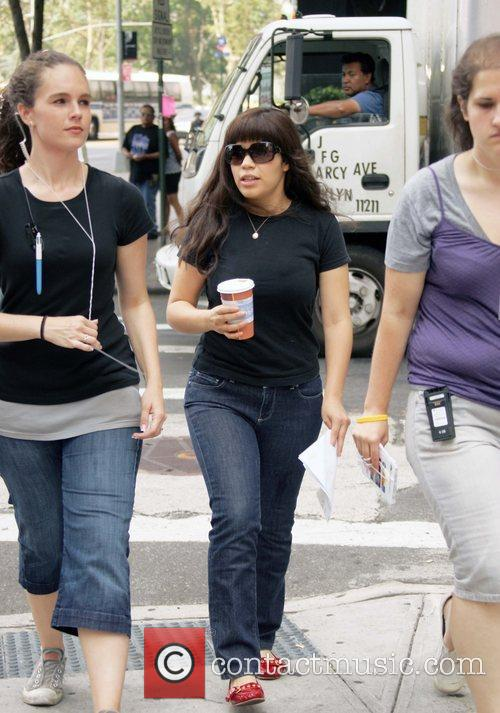 America Ferrera arriving to the set of 'Ugly...