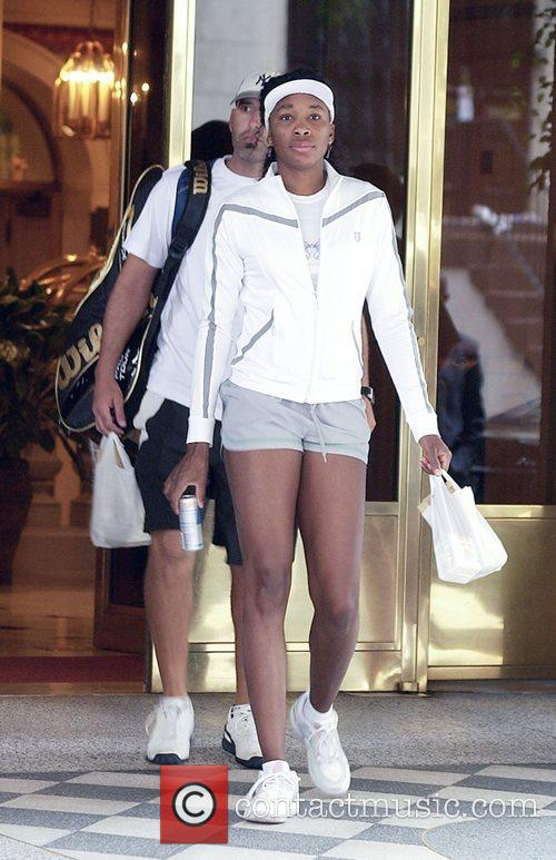 Venus Williams and her coach leave Forrest Hills...