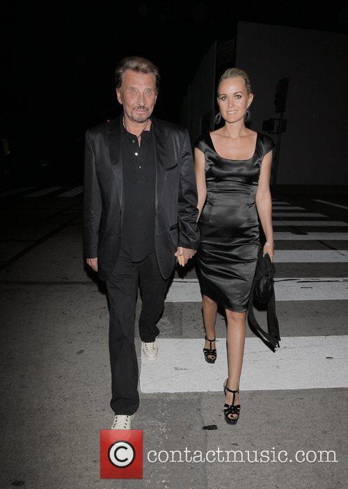 Johnny Hallyday and Laetitia Boudou outside Villa Lounge...