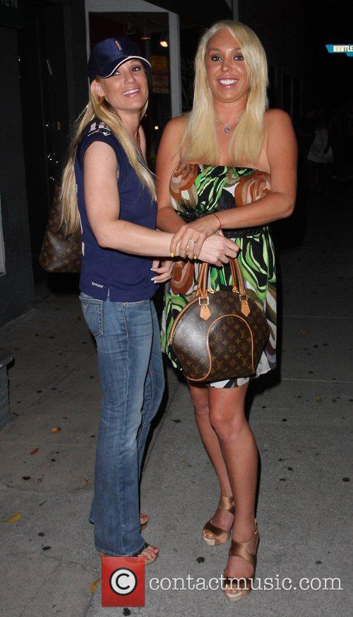 Mary Carey and a friend outside the Villa...