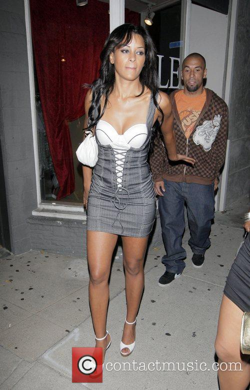 Claudia Jordan and guest outside Villa Lounge on...