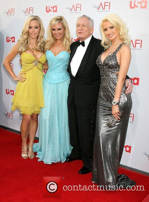 Kendra Wilkinson, Bridget Marquardt and Hugh Hefner 5