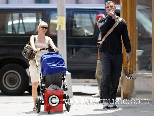 Couple out and about with their son Alexander...