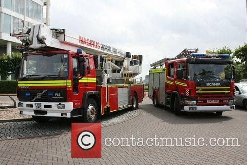 Fire Engines arrive at the hotel where the...