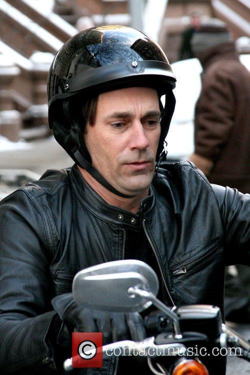 Jon Hamm filming a guest staring scene for...