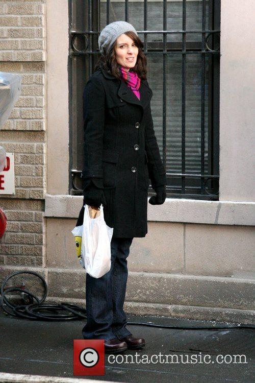 Tina Fey filming a scene for '30 Rock'...