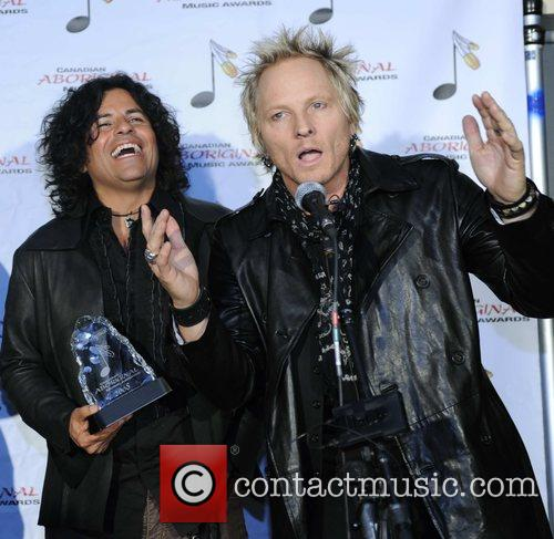 Stevie Salas (L) and Matt Sorum of Gun's...
