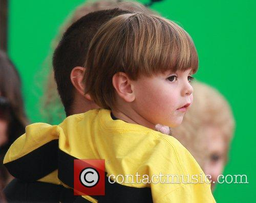 At his school dressed like a bumble bee...
