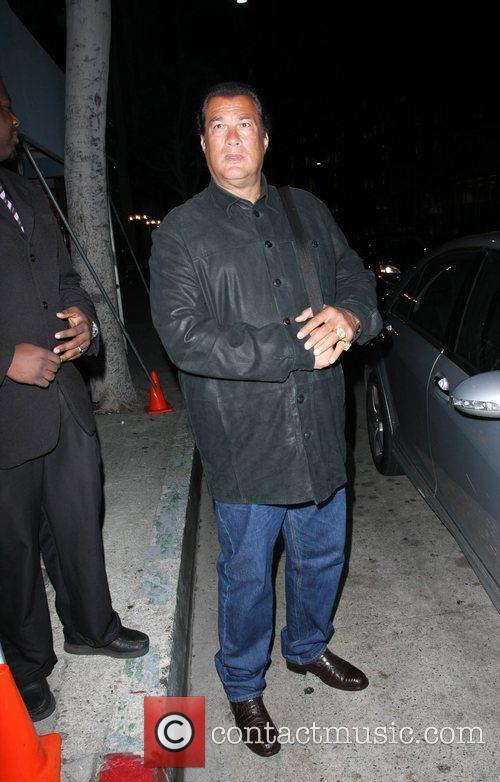 Steven Seagal leaving Mr Chow restaurant Los Angeles,...