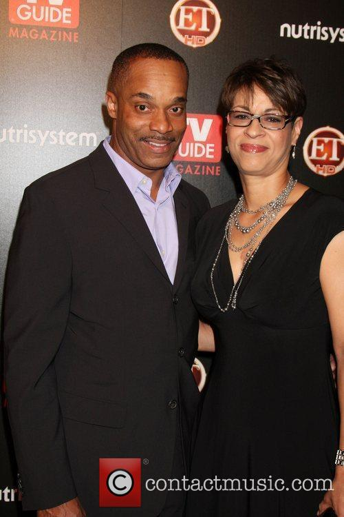 Rocky Carroll & Wife arriving at the TV...