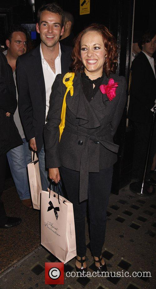 Sarah Cawood leaves the Agent Provocateur party, held...