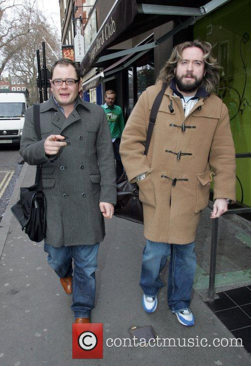 Justin Lee Collins and Alan Carr walking through...