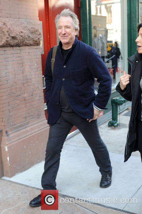 Alan Rickman out in Manhattan's East Village apartment...