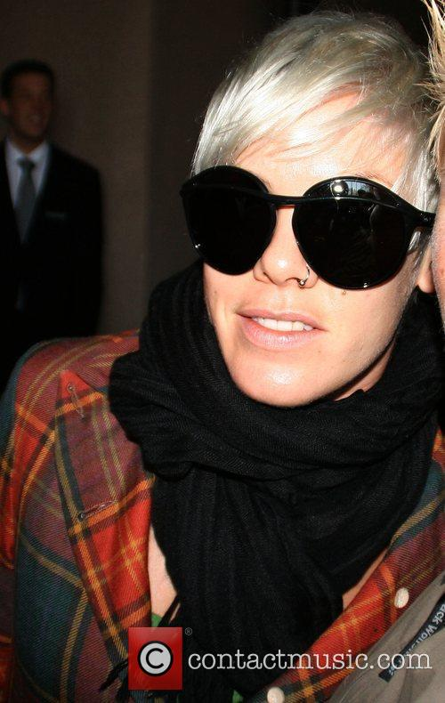 Pink aka Alecia Moore leaving the Hyatt hotel...