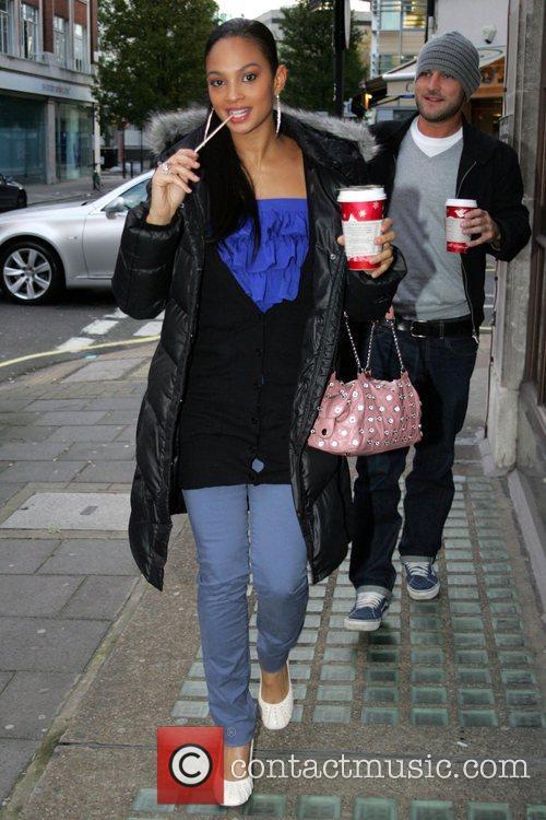 Alesha Dixon arriving at Radio 1 studios in...