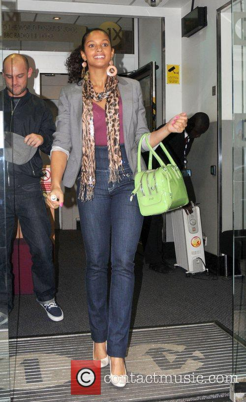 Alesha Dixon  leaving Radio One studios carrying...
