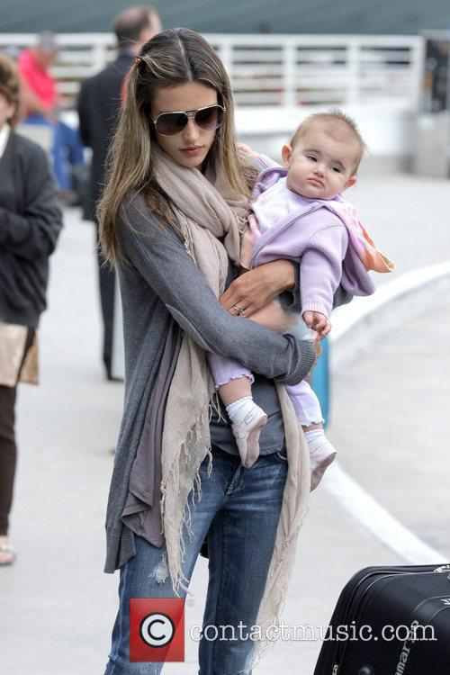alessandra ambrosio arrives at lax airport with daughter anja louise to catch an american airlines flight 5304892