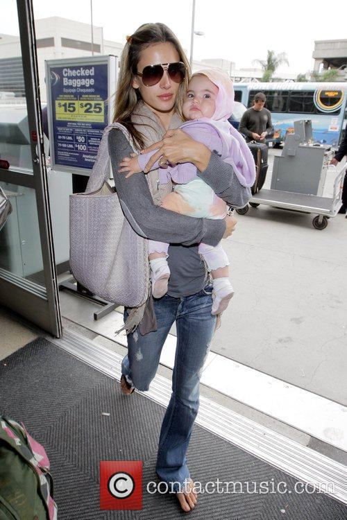 Alessandra Ambrosio arrives at LAX airport with daughter...