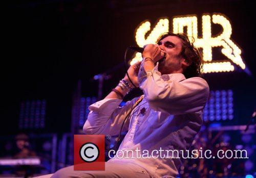 Performing live at the Aragon Ballroom