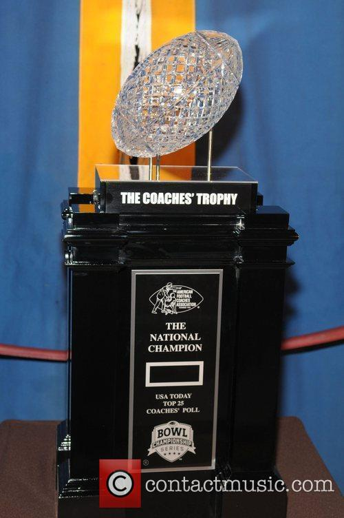 The Coaches' Trophy display at the BCS Orange...