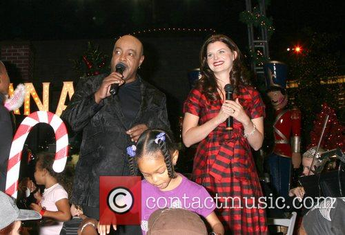 Peabo Bryson and Heather Tom on stage at...