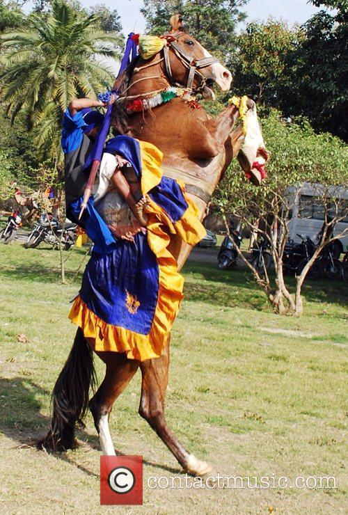 A Nihang, or Sikh warrior, performs on his...