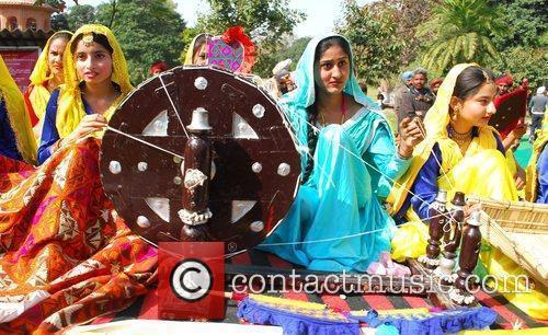 Indian college girls perform 'Gidha', the folk dance...
